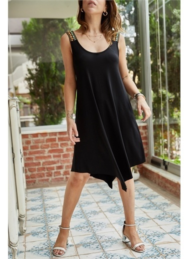 XHAN Omuzu Aksesuarlı Asimetrik Viskon Elbise 0Yxk6-43378-42 Siyah